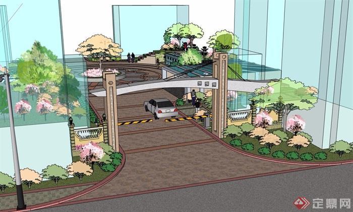 某详细的住宅详细入口景观设计su模型