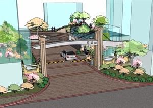 某详细的住宅详细入口景观设计SU(草图大师)模型