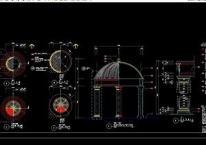 美式风格详细的英文标注亭子素材设计cad施工图
