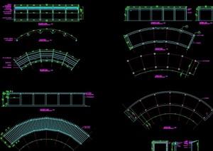 详细的景观休闲长廊素材设计cad施工图