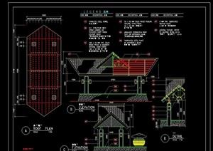 东南亚英文标注亭子设计cad施工图