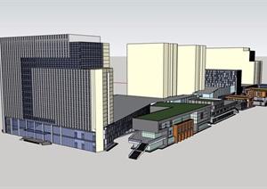 现代详细商业办公群建筑设计SU(草图大师)模型