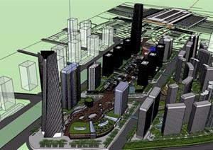 商业办公完整多栋建筑设计SU(草图大师)模型