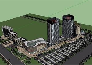 某商业详细完整的办公建筑楼设计SU(草图大师)模型