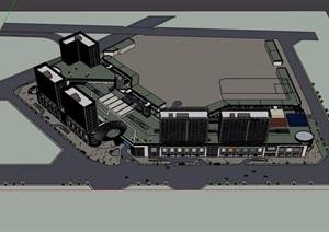某详细的商业办公综合楼设计SU(草图大师)模型