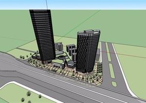 商业办公详细综合楼设计SU(草图大师)模型