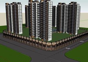 某详细的商住小区建筑楼设计SU(草图大师)模型