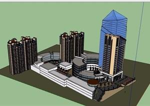底商住宅及办公建筑楼设计SU(草图大师)模型
