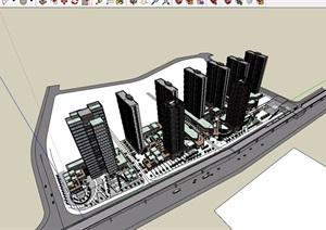 现代详细的完整底商住宅楼设计SU(草图大师)模型