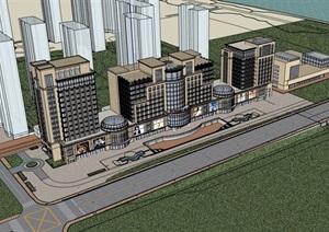 新古典办公楼及商业街建筑SU(草图大师)模型
