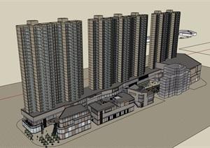 详细的完整商业住宅楼设计SU(草图大师)模型