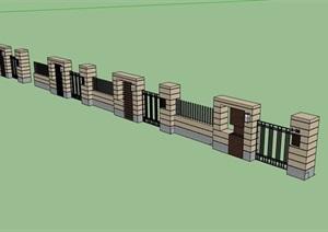 现代详细的完整围墙素材设计SU(草图大师)模型