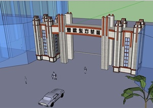 详细园林景观小区大门设计SU(草图大师)模型