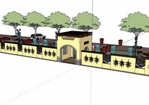 详细的休闲欧式小广场设计SU(草图大师)模型