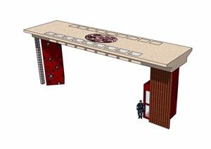 详细的独特完整大门设计SU(草图大师)模型