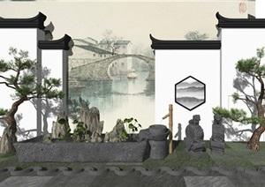 新中式景墙 松树 石头假山 景观小品SU(草图大师)模型