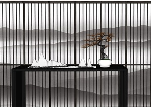 新中式屏风 隔断 假山 盆景 摆件组合