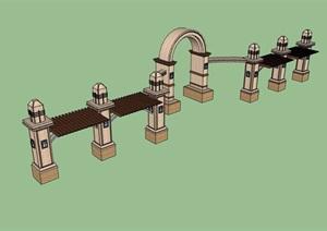 欧式风格详细的廊架门素材设计SU(草图大师)模型