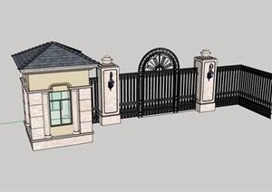 欧式风格详细的完整铁艺大门设计SU(草图大师)模型
