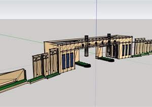 现代风格详细的完整学院大门设计SU(草图大师)模型