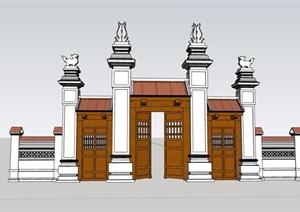 东南亚风格详细的完整的大门SU(草图大师)模型