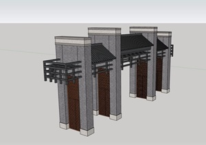 现代中式详细的完整大门设计SU(草图大师)模型