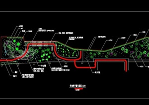 生物廊小游园cad平面设计图