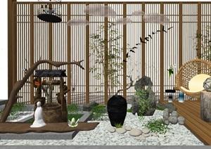 新中式 禅意 景观小品 屏风 石头 庭院小品SU(草图大师)模型