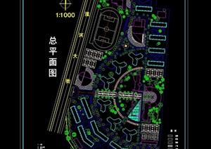 大学城学校详细景观设计cad总平面图