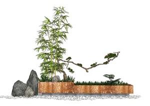 新中式景观小品 花箱 盆栽 竹子 石头植物SU(草图大师)模型