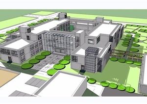 三层详细的医院建筑楼设计SU(草图大师)模型
