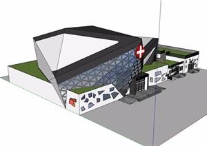现代独特详细的医院多层设计SU(草图大师)模型