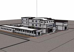 中式多层医院建筑素材设计SU(草图大师)模型