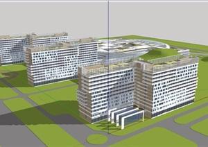 某详细的整体多层医院建筑楼设计SU(草图大师)模型