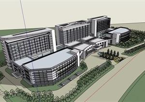 现代详细的独特完整多层医院建筑楼设计SU(草图大师)模型