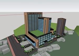 详细完整的高层医疗建筑楼设计SU(草图大师)模型