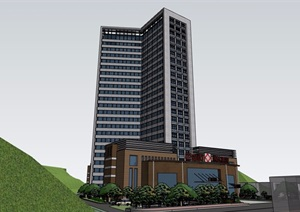 某详细的整体高层医疗建筑楼设计SU(草图大师)模型