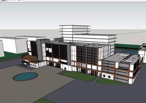 详细的医院门诊楼设计SU(草图大师)模型