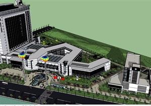 现代详细的完整医院建筑楼及景观设计SU(草图大师)模型