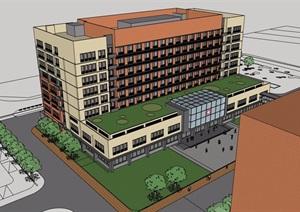 某医院八层详细的建筑楼设计SU(草图大师)模型