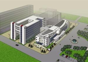 某现代多层详细的医疗建筑楼SU(草图大师)模型