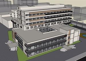 详细的完整多层医院建筑楼设计SU(草图大师)模型