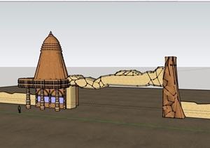 现代两个大门素材设计SU(草图大师)模型