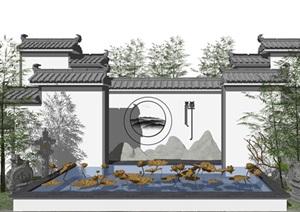 新中式蕴意景墙荷花水景小品SU(草图大师)模型
