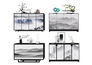 新中式玄关摆件组合SU(草图大师)模型