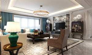 西安新房装修-万科翡翠天誉265平米美式风格-王强主笔设计