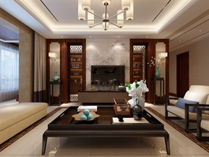 西安新房裝修設計-湖城大境180平米新中式風格設計賞析