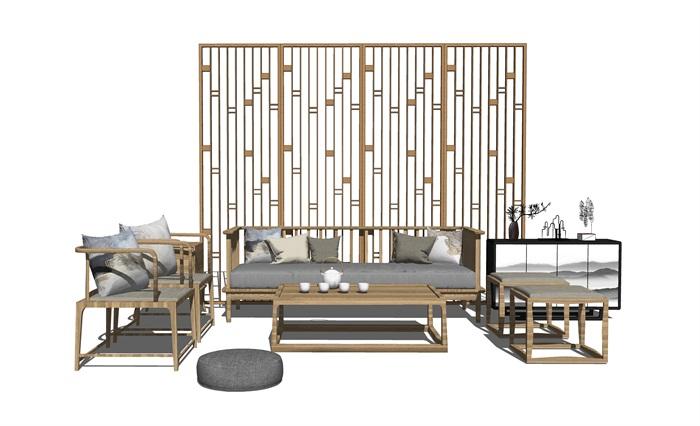 中式客廳家居軟裝隔斷抱枕組合su模型(1)