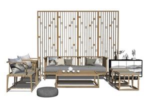 中式客厅家居软装隔断抱枕组合SU(草图大师)模型