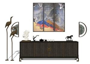 新中式电视柜摆件挂画组合SU(草图大师)模型